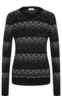 Вязаный шерстяной пуловер с круглым вырезом Saint Laurent