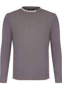 Хлопковая футболка с длинными рукавами Emporio Armani