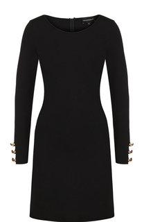 Однотонное мини-платье с круглым вырезом и контрастными пуговицами Emporio Armani
