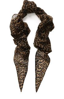 Шерстяной шарф с леопардовым принтом Saint Laurent