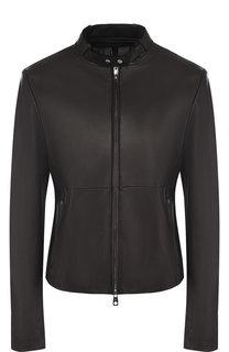 Кожаная куртка с воротником-стойкой Emporio Armani