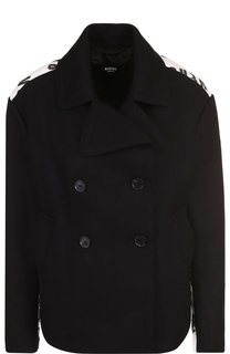 Укороченное шерстяное пальто с принтом на спине Versus Versace