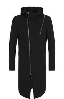 Однотонное пальто с косой молнией Masnada