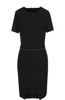 Приталенное мини-платье с круглым вырезом и декоративной отделкой Emporio Armani