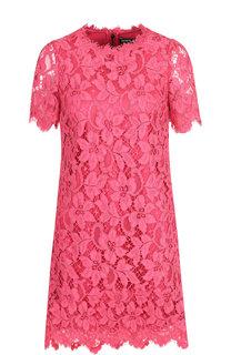 Кружевное мини-платье с круглым вырезом Dolce & Gabbana