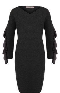 Шерстяное мини-платье с оборками на рукавах D.Exterior