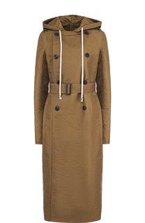 Двубортное пальто с поясом и капюшоном Rick Owens