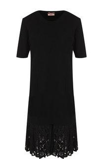 Шерстяное мини-платье с кружевной вставкой No. 21
