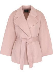 Однотонное пальто из смеси шерсти и кашемира с поясом Theory