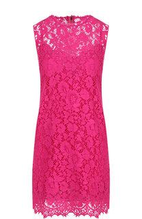 Кружевное мини-платье из смеси хлопка и вискозы Dolce & Gabbana