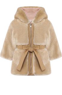 Пальто с отделкой из эко-меха с капюшоном Chloé