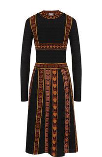 Вязаное платье-миди с декоративной вышивкой M Missoni