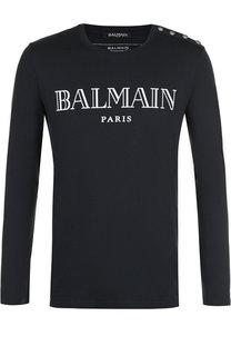 Хлопковый пуловер с логотипом бренда Balmain