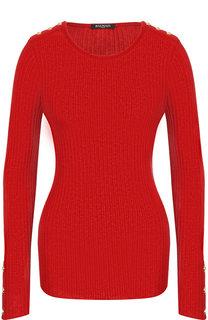 Однотонный хлопковый пуловер с круглым вырезом Balmain