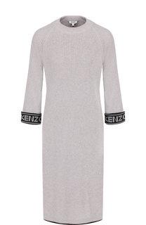 Вязаное платье-миди из смеси хлопка и шерсти Kenzo
