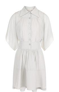 Однотонное шелковое мини-платье с поясом Chloé