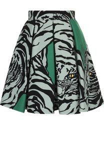 Мини-юбка из смеси шерсти и шелка с принтом Valentino