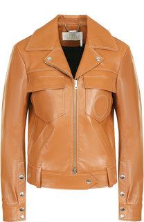 Кожаная куртка с поясом и накладными карманами Chloé