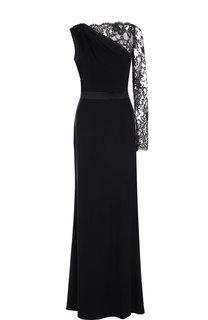 Приталенное платье-макси с кружевной отделкой Alexander McQueen