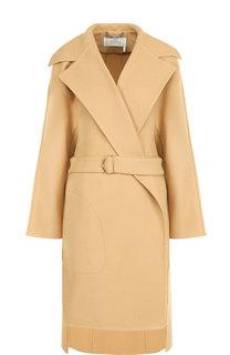Однотонное шерстяное пальто с поясом Chloé