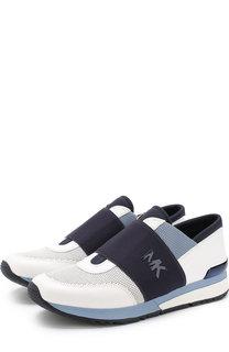 Кожаные кроссовки с эластичной вставкой и перфорацией MICHAEL Michael Kors