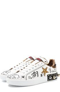 Кожаные кеды Portofino с декором Dolce & Gabbana