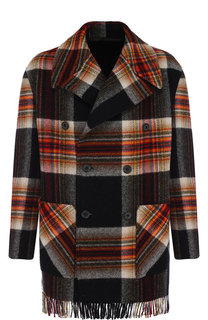 Шерстяное пальто в клетку с бахромой CALVIN KLEIN 205W39NYC
