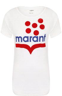Льняная футболка с круглым вырезом и логотипом бренда Isabel Marant Etoile
