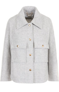 Укороченное шерстяное пальто с накладными карманами Chloé
