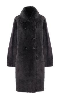 Двубортное меховое пальто Emporio Armani