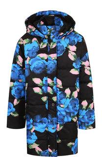 Стеганая куртка с капюшоном и принтом MSGM