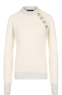 Пуловер из смеси шерсти и кашемира с декоративными пуговицами Balmain