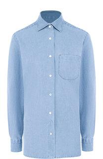 Джинсовая блуза с накладным карманом Kiton