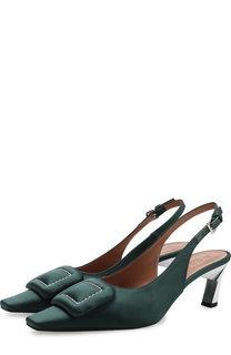 Текстильные туфли с пряжкой на фигурном каблуке Marni