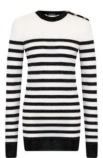 Удлиненный пуловер с металлизированной нитью и декоративными пуговицами Balmain