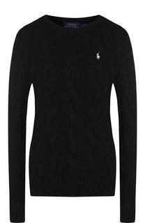 Хлопковый пуловер с вышитым логотипом бренда Polo Ralph Lauren