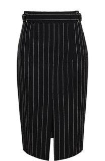 Шерстяная юбка-карандаш с разрезом в полоску Tom Ford