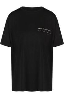Однотонная футболка с круглым вырезом и надписью Mm6