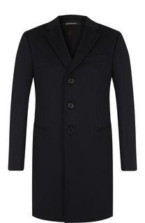 Однобортное пальто из смеси шерсти и кашемира Emporio Armani