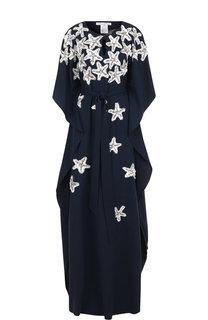 Шелковое платье-макси свободного кроя с пайетками Oscar de la Renta