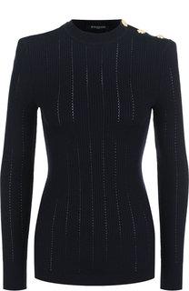 Шерстяной пуловер с декоративными пуговицами Balmain