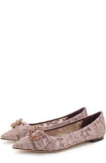 Кружевные балетки Bellucci с брошью Dolce & Gabbana