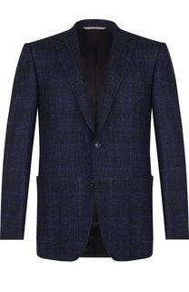 Однобортный пиджак из смеси шерсти и льна Canali