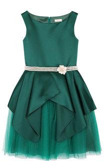Платье с многослойной юбкой и декоративным поясом из жемчужин David Charles