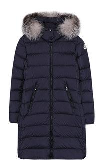Пуховое пальто на молнии с капюшоном и меховой отделкой Moncler Enfant