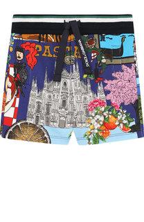 Хлопковые шорты с поясом на кулиске Dolce & Gabbana