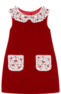 Приталенное мини-платье из хлопка с кружевной отделкой Dolce & Gabbana