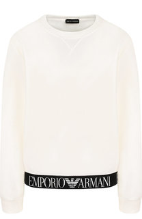Хлопковый пуловер с логотипом бренда Emporio Armani