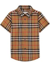 Хлопковая рубашка с принтом Burberry