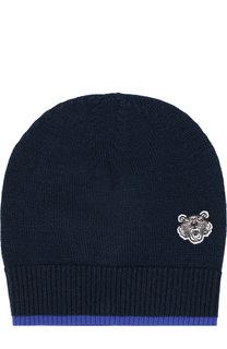 Шерстяная шапка с логотипом бренда Kenzo